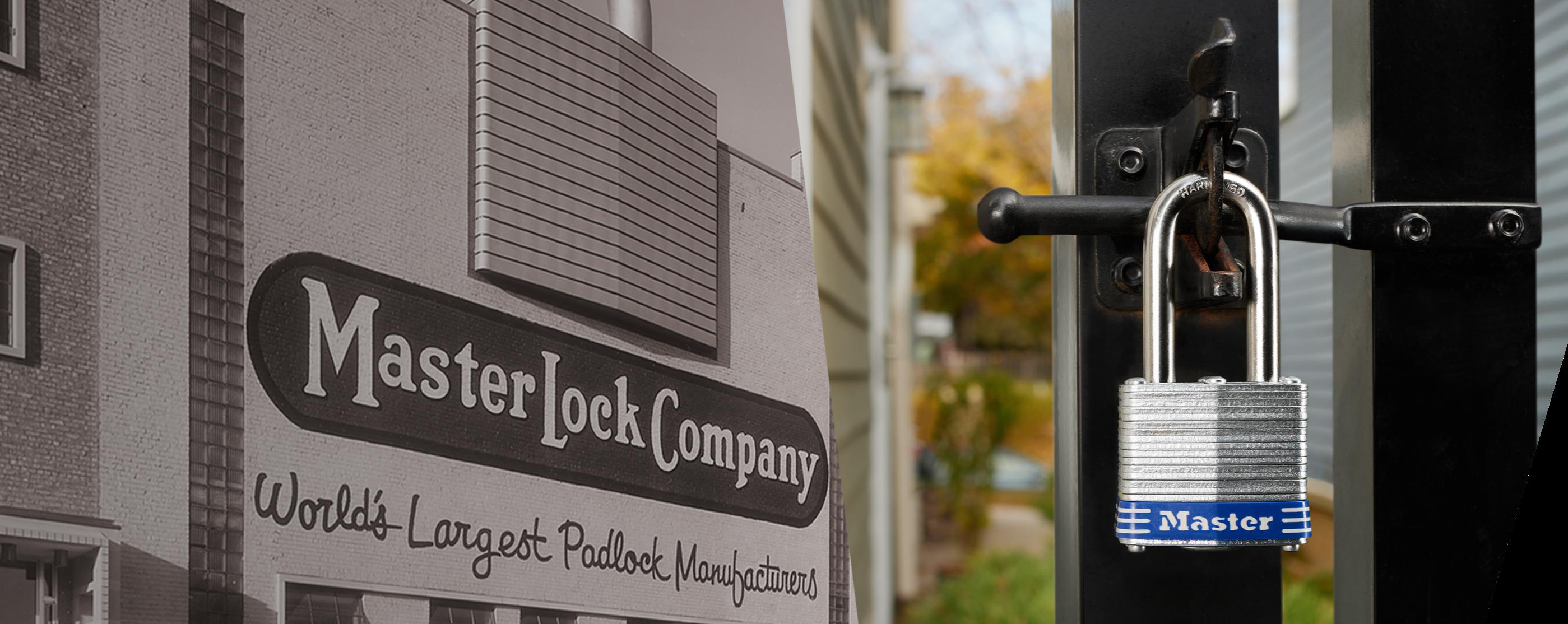 玛斯特锁的历史大楼,栅栏上挂着层压挂锁