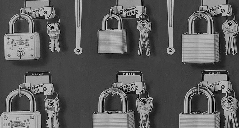 玛斯特锁在1950年代生产的锁具