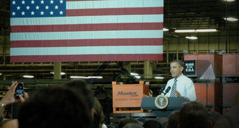 奥巴马总统访问玛斯特锁以探讨美国的制造业