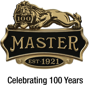 Master Lock 100-Year Celebration lion logo, established in 1921